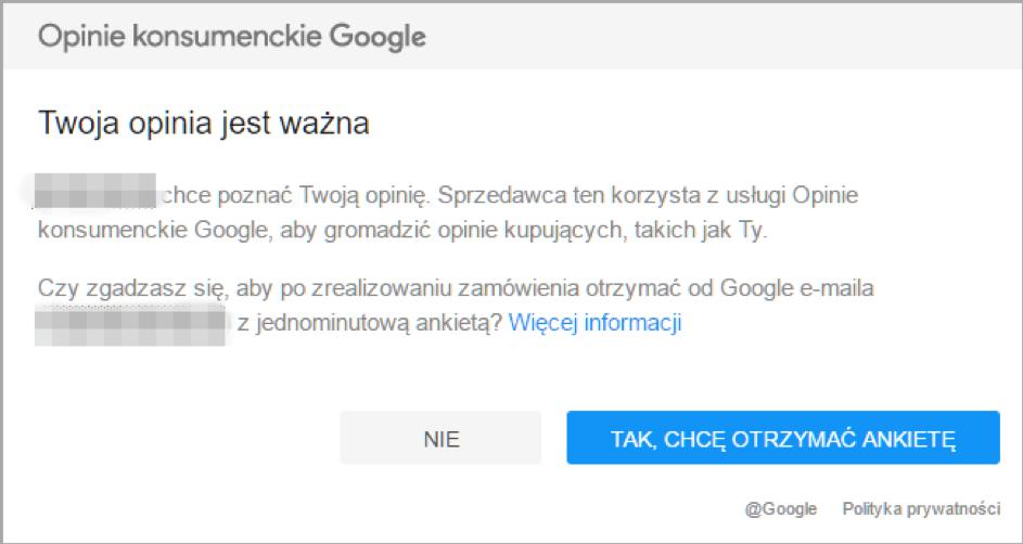 Opinie konsumenckie Google - przykład