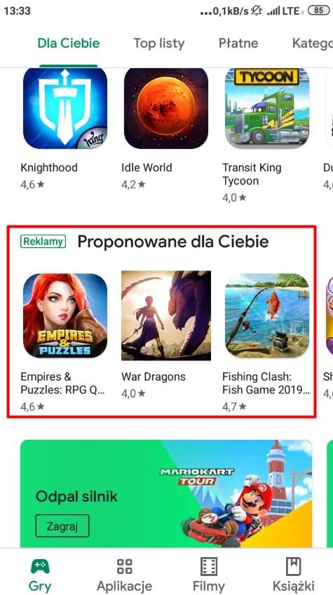 Przykład reklamy w aplikacji