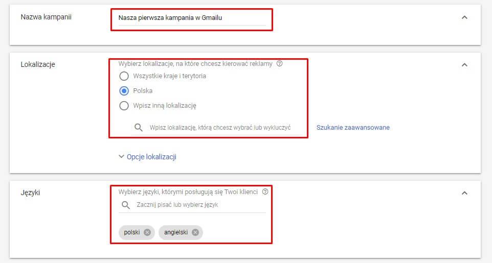 Ustawienia nazwy, lokalizacji i języka w kampanii Gmail