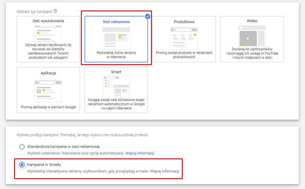 Wybór typu kampanii - Gmail