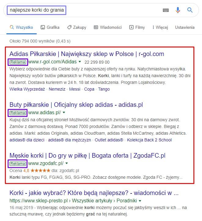 Przykłady reklam Google Ads w wyszukiwarce