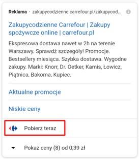 Rozszerzenie aplikacji w Google Ads