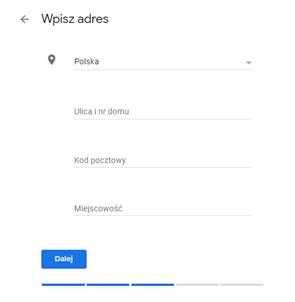Google Moja Firma - wpisywanie adresu
