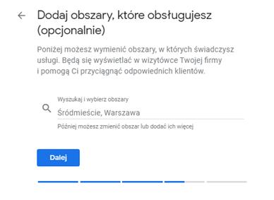 Google Moja Firma - obsługiwane obszary
