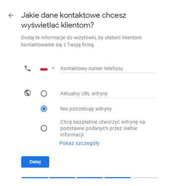 Google Moja Firma - dane kontaktowe