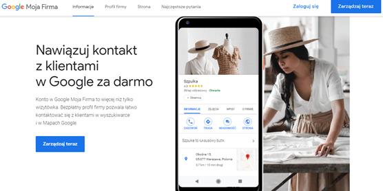 Google Moja Firma - panel