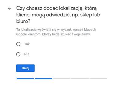 Google Moja Firma - fizyczna lokalizacja