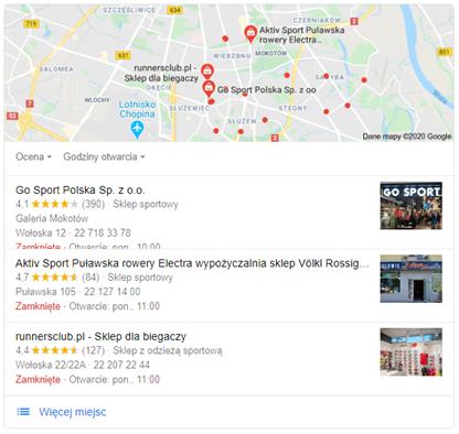 Google Moja Firma - listing