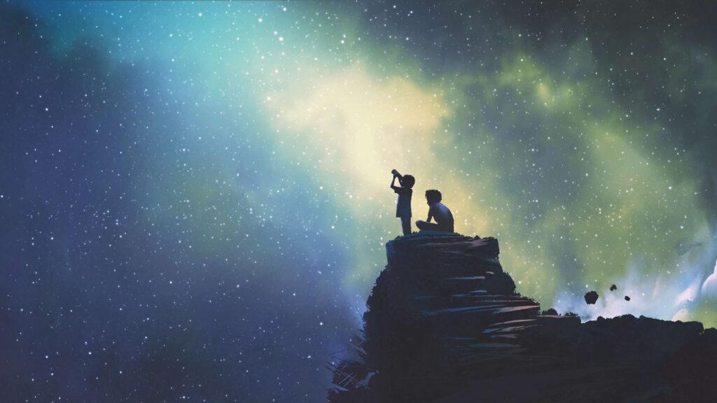 postacie spoglądające w kosmos symbolika Discovery Ads